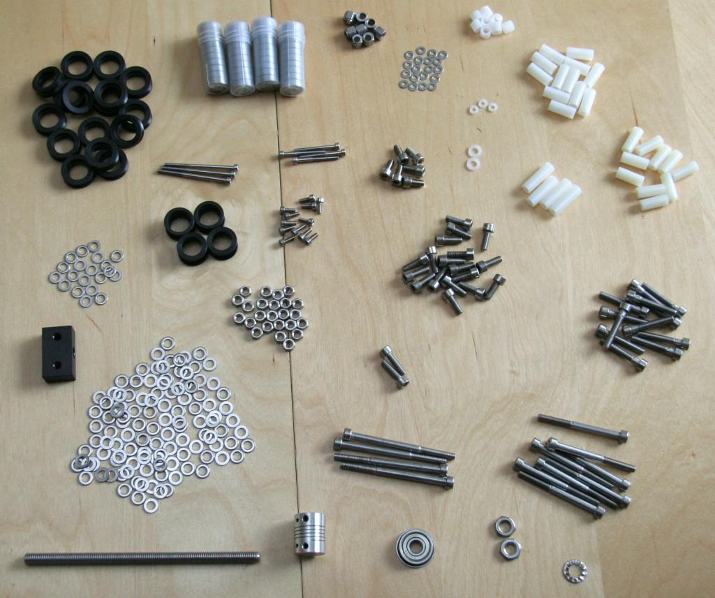 Fasteners, spacers, bearings, V-wheels etc for eShapeOko