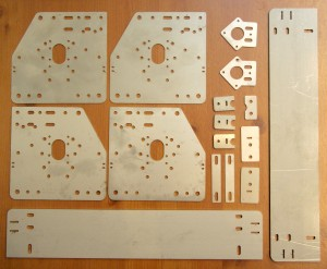 Laser-cut parts for eShapeOko